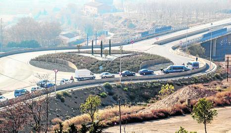 Imatge d'arxiu d'un control de trànsit a la carretera d'Alcarràs.