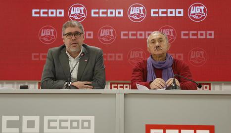 Els líders de CCOO i UGT, Unai Sordo i Josep Maria Àlvarez, ahir, a Madrid.