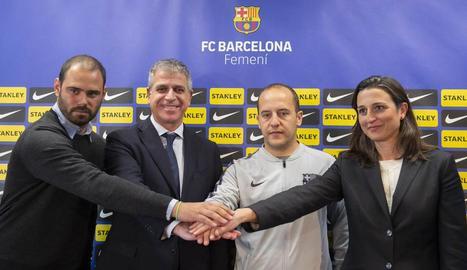 Lluís Cortés ahir durant la presentació com a entrenador del primer equip femení del Barça.