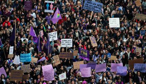 Manifestació amb motiu del Dia de la Dona Treballadora el 8 de març de l'any passat a Lleida.