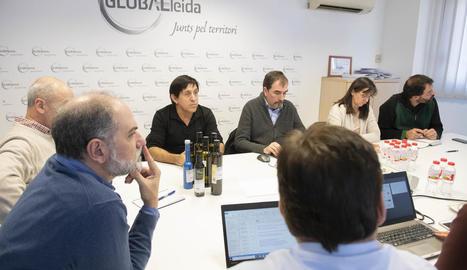 Imatge de la reunió del Clúster de l'Oli de Catalunya, ahir.
