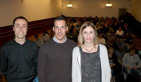 Josep Rubiol, Xavier Estrada i Marta Portero, ahir a la UdL.