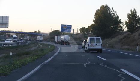 L'autovia A-2 al seu pas per Lleida.