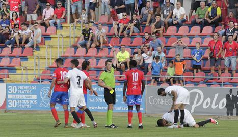 El lleidatà Gòdia Solé, durant el partit del seu debut a Terol.
