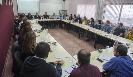 La reunió de la vinya celebrada ahir a l'Escola Agrària de Tàrrega.