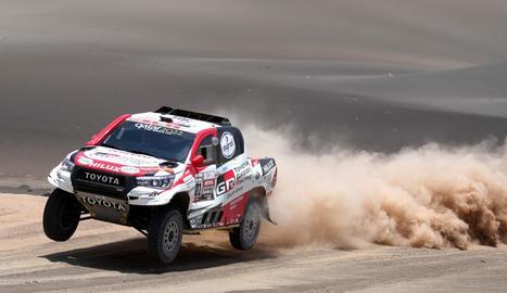 Nasser al-Attiyah, durant la novena etapa del Ral·li Dakar.