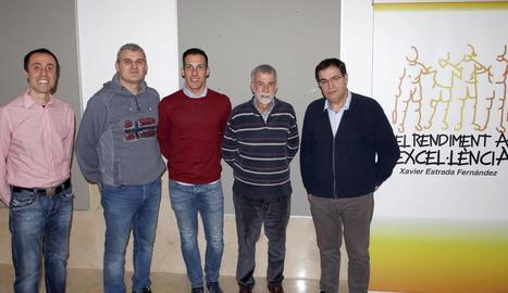 Ignacio Morgado, segon per la dreta, ahir a la UdL.