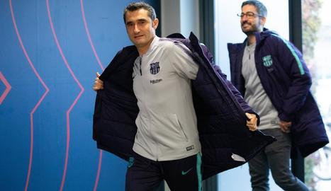 Ernesto Valverde, a l'arribar a la prèvia del partit d'aquesta nit.