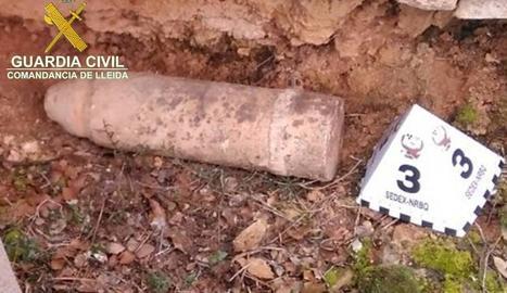 El projectil trobat a l'Albagés.