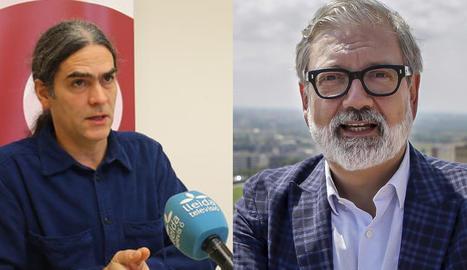 Sergi Talamonte, del Comú, i l'alcalde, Fèlix Larrosa.