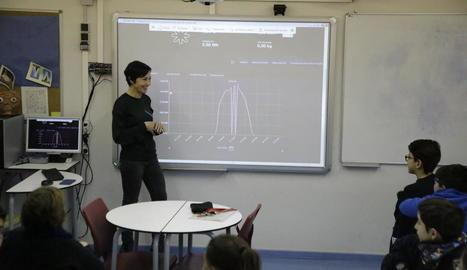 Els professors de Tecnologia, amb alumnes de segon d'ESO al costat de les plaques fotovoltaiques.