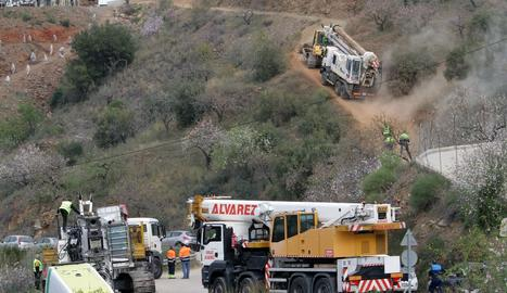 Imatge de l'operatiu de rescat de Julen al pou de Totalán.