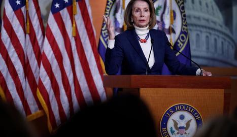 La líder demòcrata a la Cambra de Representants, Nancy Pelosi, ahir, a Washington.