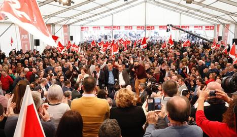 El president del Govern central, Pedro Sánchez, ahir, en un acte dels socialistes murcians.