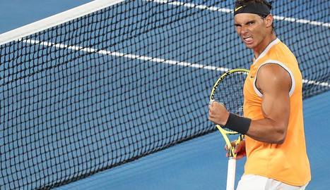Rafa Nadal celebra el pas a semifinals al batre Tiafoe.
