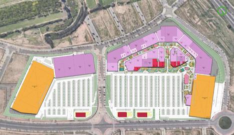 Imatge del plànol de l'actual projecte de l'àrea comercial de Torre Salses, que estaria ubicada entre la Bordeta i Magraners.