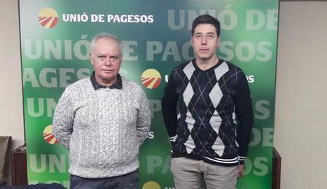 Santiago Querol i Rossend Saltiveri, poc abans de la roda de premsa.