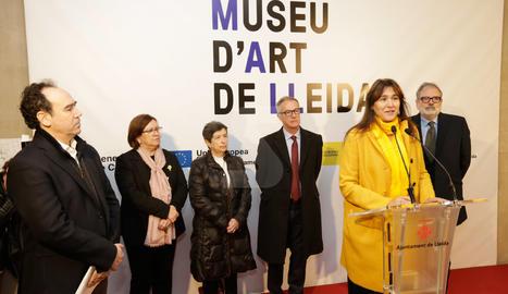 La consellera de Cultura, Laura Borràs, ha assistit avui a l'inici de les obres del futur Museu d'Art de Lleida, anomenat fins ara Museu d'Art Jaume Morera. L'acte també ha comptat amb la presència del ministre de Cultura i Esports del Govern d'Espanya, José Guirao; i del paer en cap de l'Ajuntament de Lleida, Fèlix Larrosa.