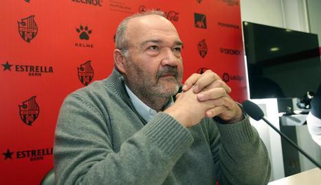 L'antic propietari del Reus, Joan Oliver, en una de les últimes rodes de premsa.