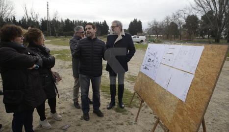 La visita a les obres del terreny de l'antiga Hípica de Lleida, on s'ubicaran les firetes.