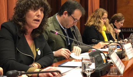 La conselleria Teresa Jordà, a la compareixença a la comissió presidida per Marc Solsona.