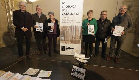 Presentació del IV Urban Sketchers de Catalunya, ahir a la Seu Vella.