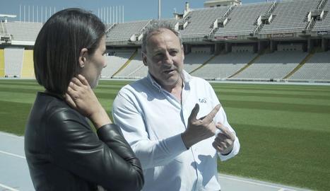Ana Pastor amb Fermín Cacho a l'Estadi Olímpic de Barcelona.