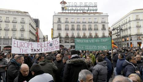 Imatge de les concentracions del sector del taxi celebrades ahir a Madrid.