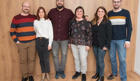 Valls (al centre) amb la resta de l'equip directiu de l'EPS.