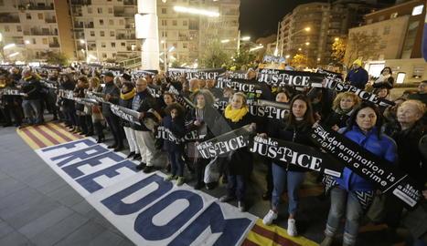 Concentración en Lleida contra el traslado de presos a Madrid para el juicio del 1-O