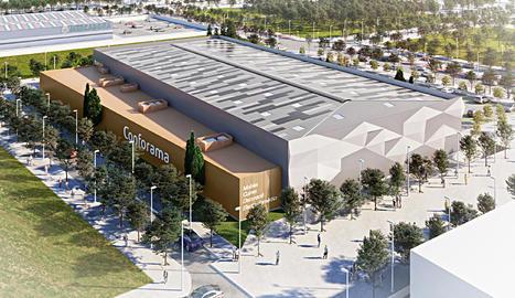 Imatge virtual de la futura botiga de Conforama, a la parcel·la situada entre el Mercadona (al fons) i el McDonald's.