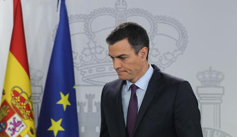 El president del Govern central, Pedro Sánchez, ahir, mentre reconeixia Guaidó.