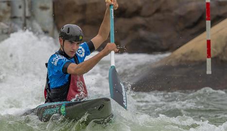 Miquel Travé, durant una sessió al canal olímpic de Penrith, que va acollir els Jocs de Sydney.