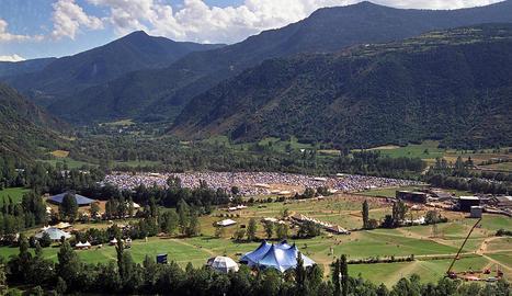 Imatge d'arxiu del recinte del festival Doctor Music a Escalarre durant la primera edició del certamen, que es va celebrar el 1996.