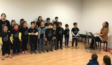 Nens de l'escola de música d'Arbeca, a l'acte d'inauguració el 7 de febrer passat.