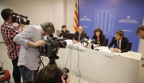 La consellera Jordà, ahir, a la seu d'Agricultura a Lleida.
