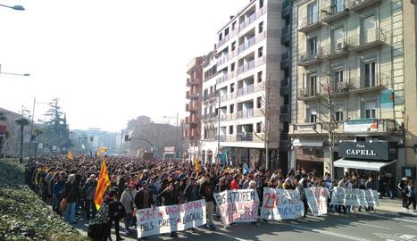 Manifestacions al migdia i a la tarda en localitats de Lleida contra el judici del 'procés'