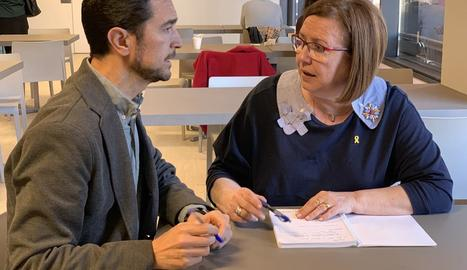 Imatge de la reunió que Perelló i Calvet van mantenir ahir.