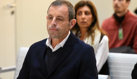 Sandro Rosell, aquest dilluns a la banqueta dels acusats.,