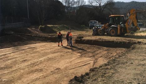 Moviments de terres per a la construcció de l'ajuntament.