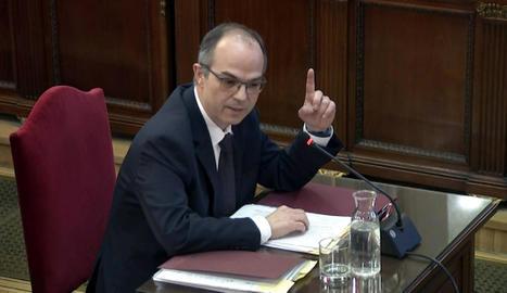 L'exconseller Jordi Turull, actualment a la presó, durant la declaració al judici el dia 19.