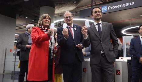 Quim Torra, a la inauguració de línia L10 de Metro, a Barcelona.