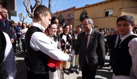 Quim Torra, a la festa del ranxo de Vidreres (Girona), ahir.