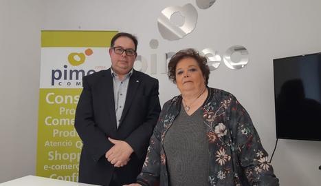 Manel Llaràs i Elia Jodar, ahir després de la roda de premsa.