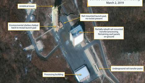 Imatge aèria que mostra l'estació satèl·lit de Sohae, dissabte passat a Cholsan County.