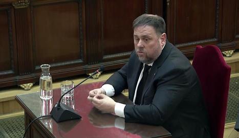 Oriol Junqueras, durant la seua declaració al judici del 'procés'.