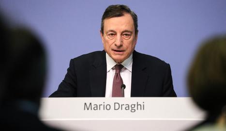 El president del BCE, Mario Draghi, ahir a Frankfurt.