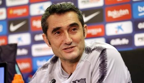 Ernesto Valverde, durant la prèvia del partit de Lliga.