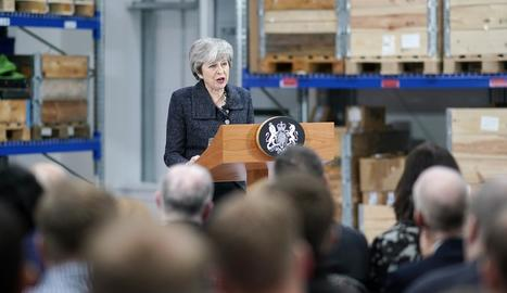 Theresa May a la intervenció d'ahir a Grimsby.