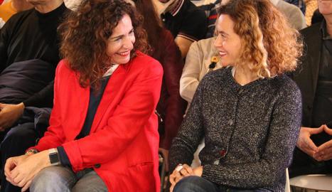 Les ministres María Jesús Montero i Meritxell Batet, ahir, en un acte del PSC a Barcelona.